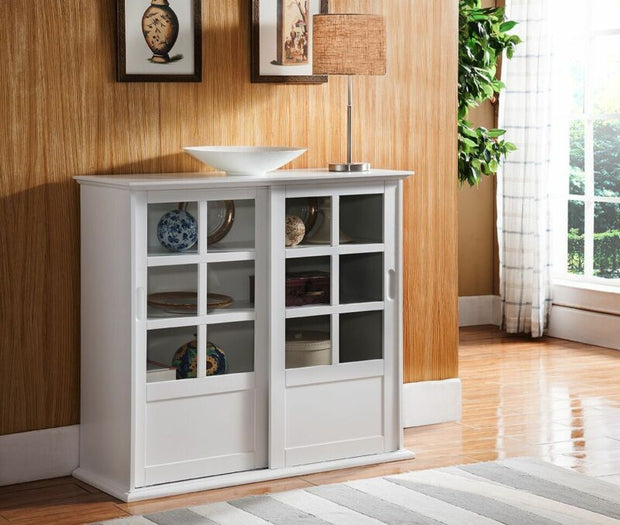 White Finish Wood Curio Cabinet with Glass Sliding Doors