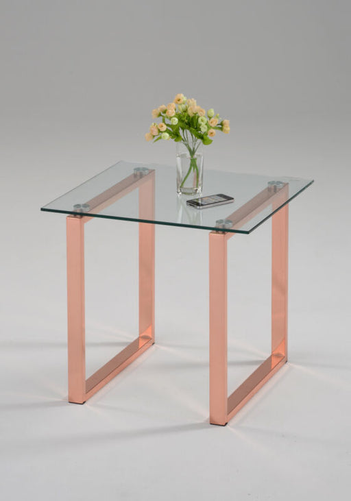 Rose Gold Finish Metal With Temper Glass End Table
