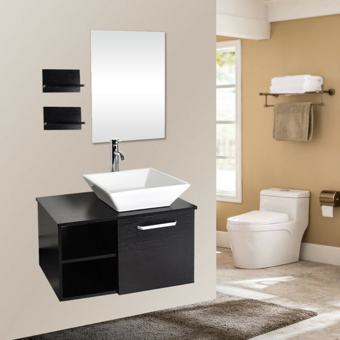 16''/24''/28'' Bathroom Floating Vanity Cabinet Glass Ceramic Vessel Sink Combo