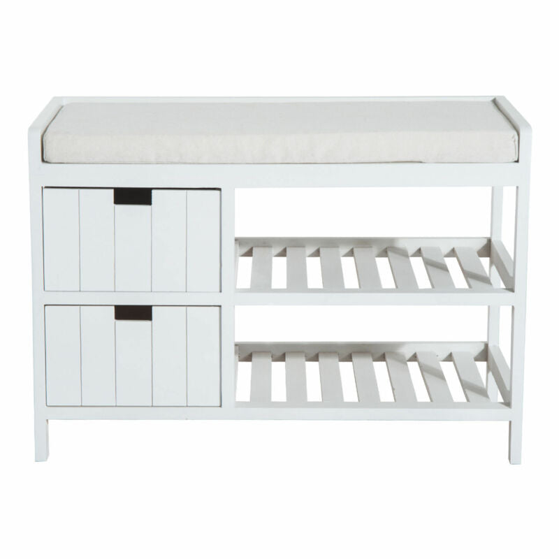 Rustic Country Hall Entryway Wooden Shelf Bench Pull Out Drawers Slatted