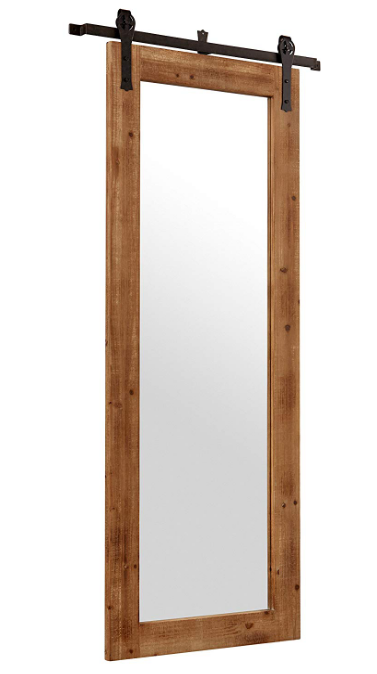 Large Full Length  Rustic Vintage Wood Iron Sliding Barn Door Mirror