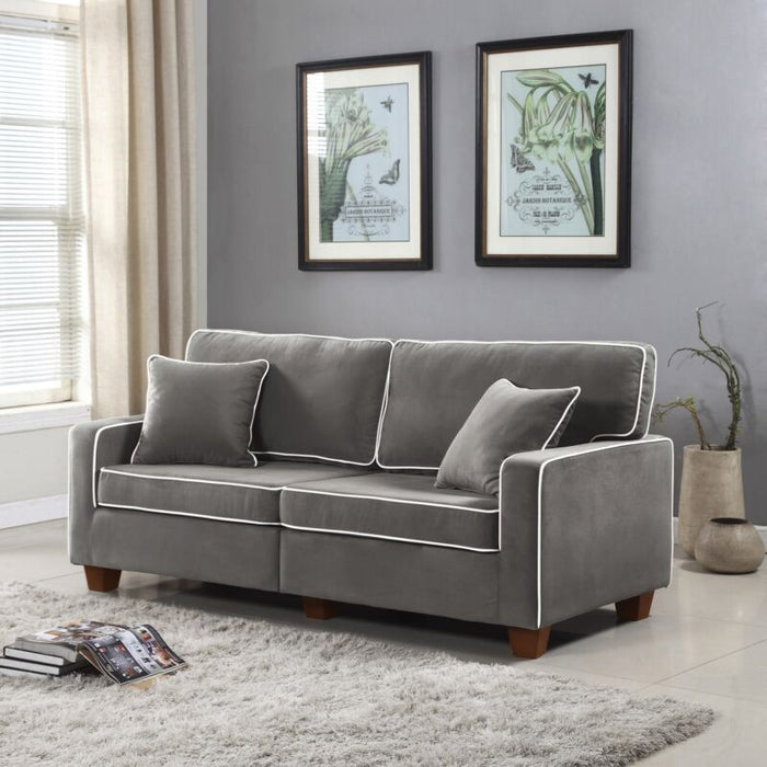 Modern Two Tone Velvet Fabric Loveseat Sofa with Wooden Legs