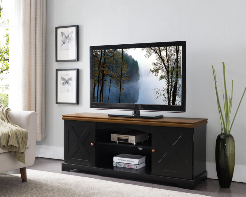 "Black/Walnut 54"" Wood TV Stand Entertainment Center"