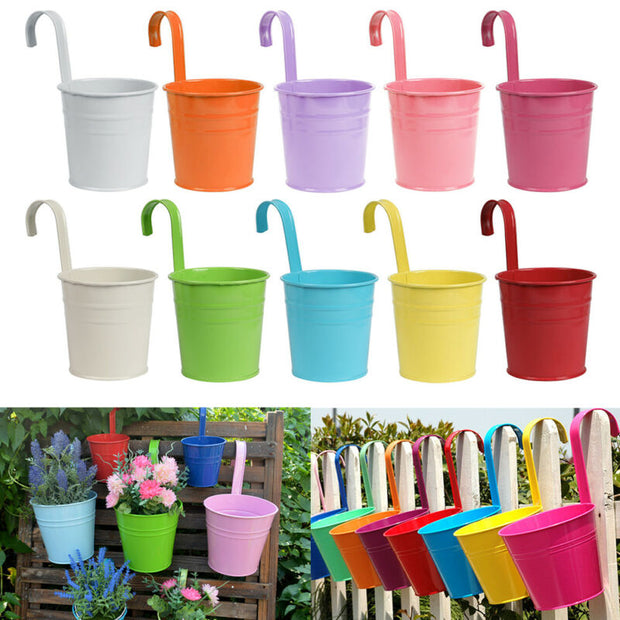 Colorful Metal Flower Pots - Set of 10