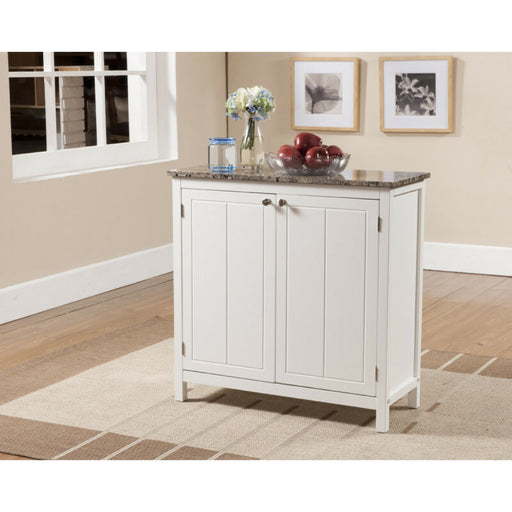 Marble Finish Top Kitchen Island Storage Cabinet