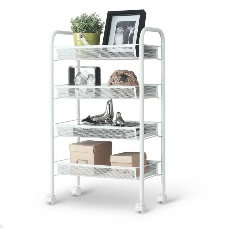 4-Tier Metal Rolling Kitchen Trolley Cart Island Wire Rack Shelf Stand w/ Caster