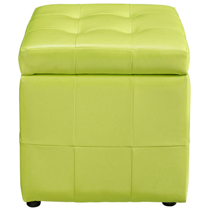 Volt Storage Faux Leather Ottoman in Light Green