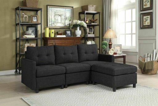 Living Room Furniture Contemporary Sectional Modern Reversible Chaise Sofa Black