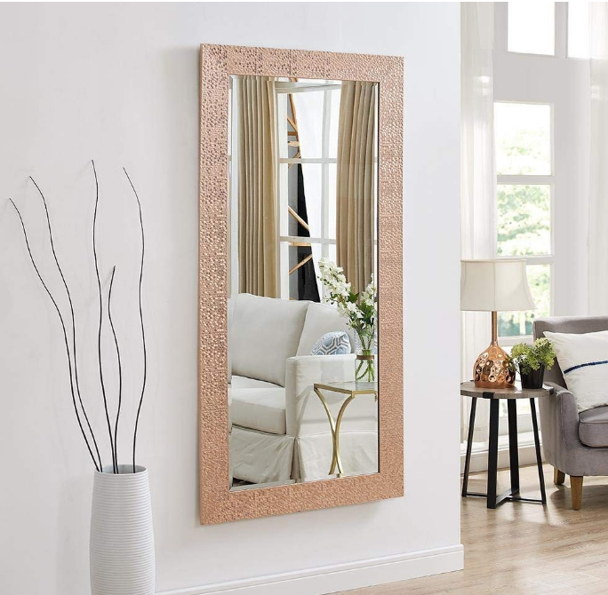 Rose Gold Ornate Frame Large Full Length Floor Mirror Leaning Wall Lounge