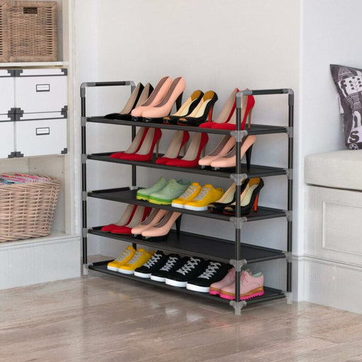 5 Tier Shoe Rack Tower Cabinet Storage Organizer (Black)