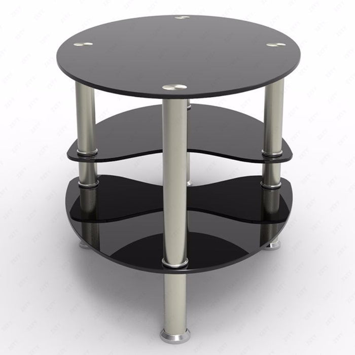 Modern Black Glass Side Coffee Table Shelf Chrome Base