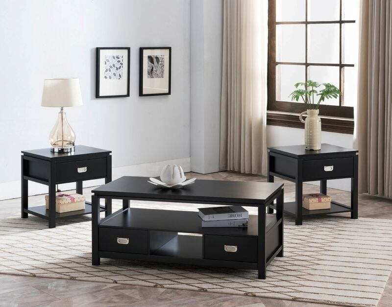3 Piece Black Wood Storage Occasional Table Set