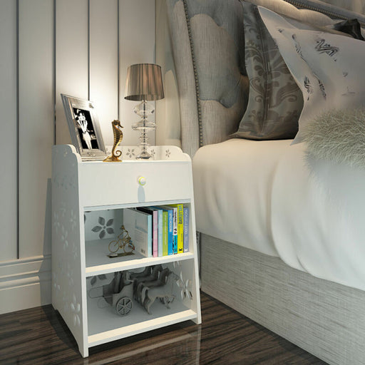 3 Layer End Side Bedside Table with Drawer Storage (White)
