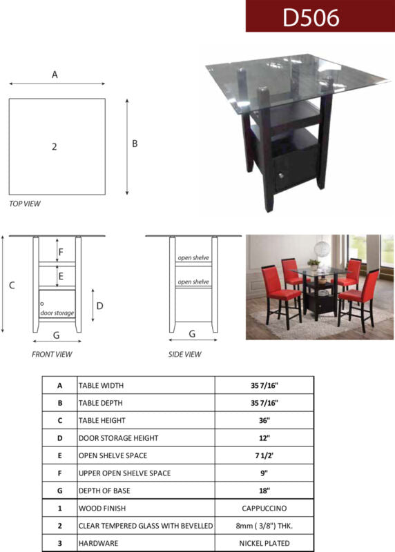 3 Piece Cappuccino & Glass Counter Height Dinette Set, Table & 2 Chairs (Red)