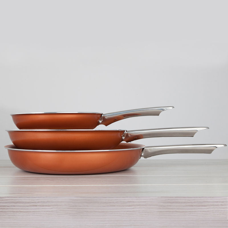 Healthy Non Stick Copper Ceramic Induction Bottom Frying Pan Set - Toyzor.com