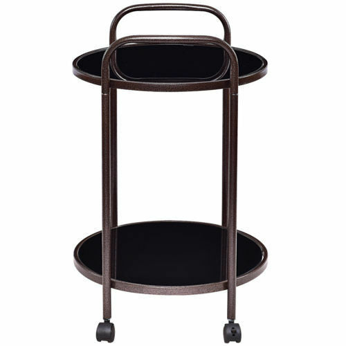 Portable Round Rolling Kitchen Food Trolley Serving Cart Tray