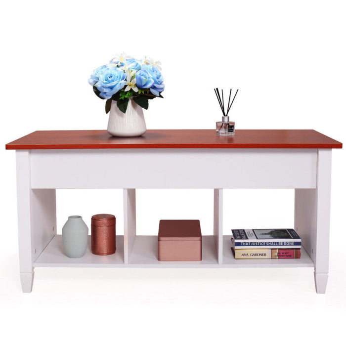 Lift Top Coffee Table  - White / Dark / Light Brown - Toyzor.com