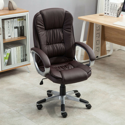 Executive High Back PU Leather Computer Desk Ergonomic Task Office Chair (Brown)