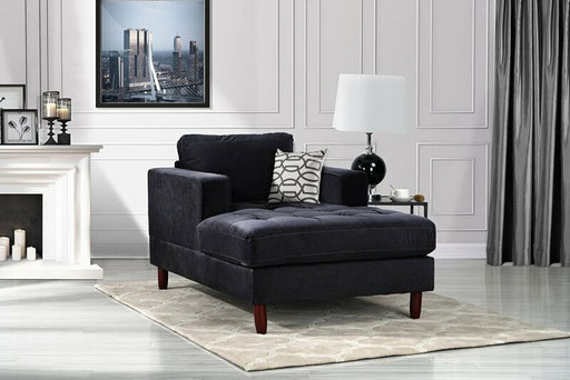Velvet Fabric Living Room Chaise Lounge (Black)