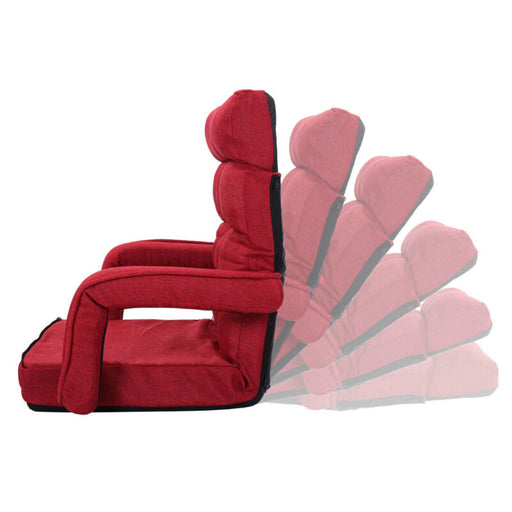 Folding Lazy Sofa Floor Chair with Armrests and a Pillow (Red)