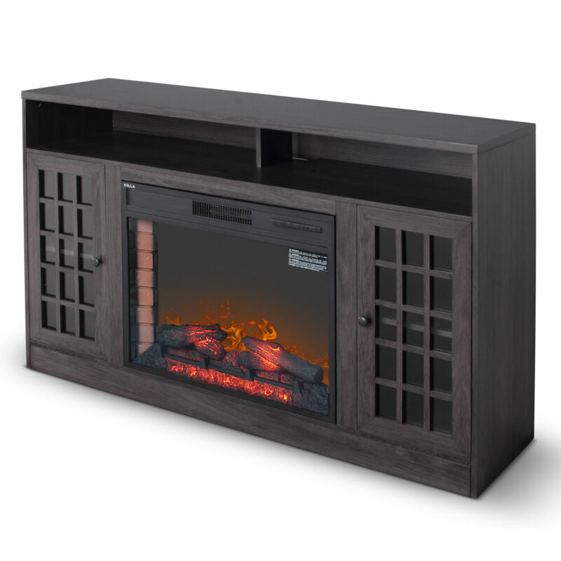 "Grey Finish 59"" Corner Media Infrared Electric Fireplace Heater with Mantel"