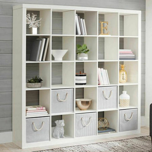 Large 25 Cube Bookcase Storage Shelves Organizer (White)