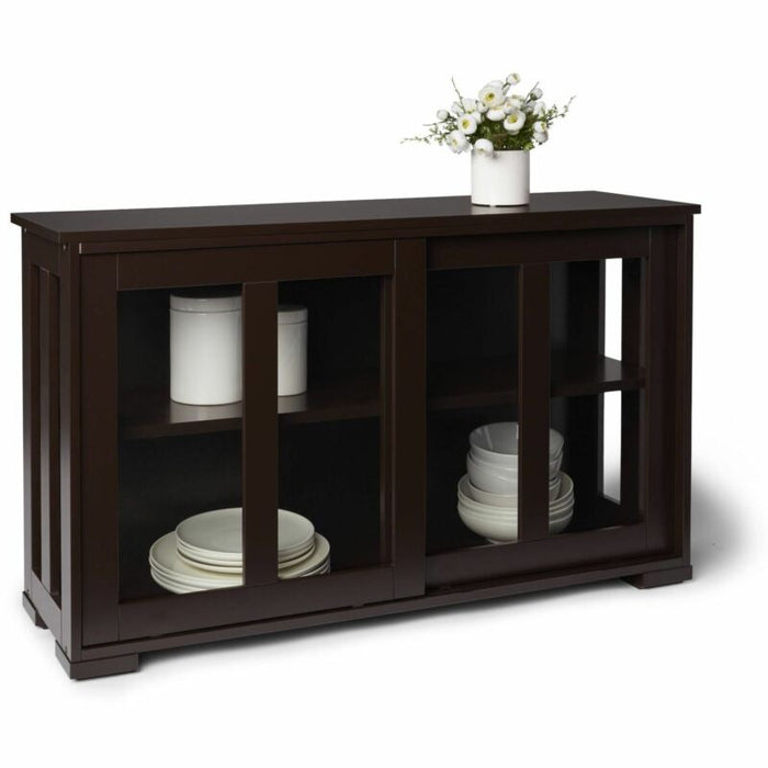 Brown Kitchen Island Wooden Storage Cabinet Stackable Utility Table Sliding Door