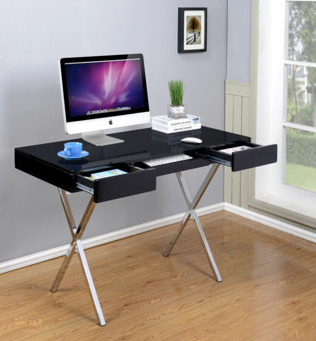 Contemporary Style Black With Chrome Finish Legs Home & Office Desk