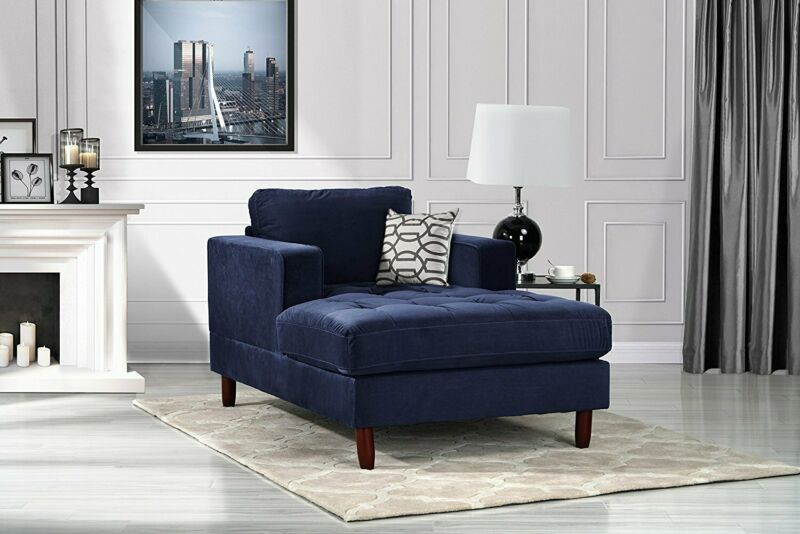 Contemporary Chaise Lounge Modern Tufted Velvet Sofa in Navy Blue