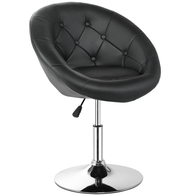 Adjustable Modern Swivel Round Tufted Back Accent Chair