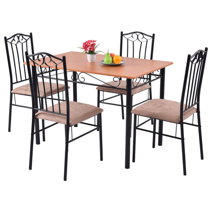 5 PC Dining Set Wood Metal Table and 4 Chairs