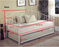 Black Metal Twin Size Day Bed Frame With Pop Up Trundle