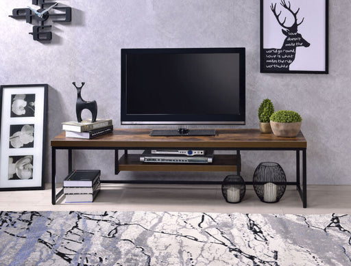 TV Stand in Weathered Oak and Black Finish