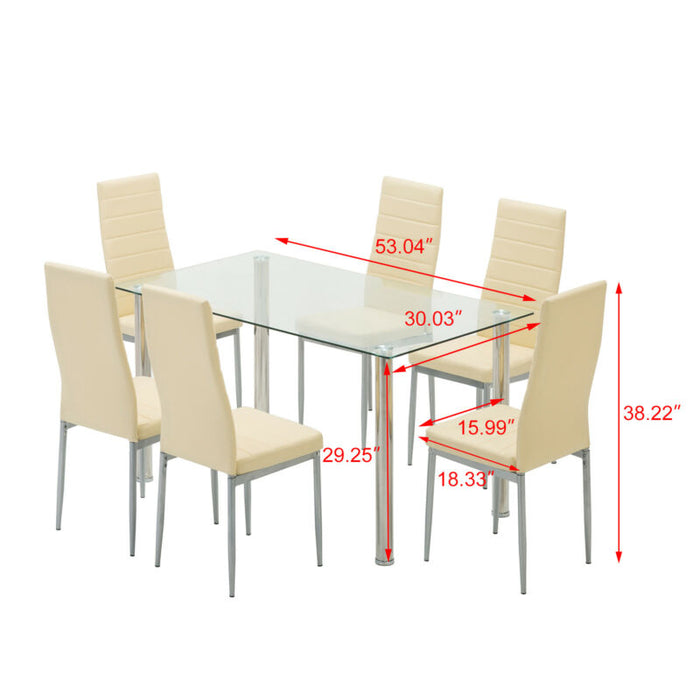 5 Piece Dining Table Set 4 Chairs Glass Metal Kitchen Furniture