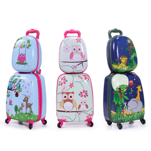2pc Carry On Luggage With Wheels Kids Rolling Suitcase Backpack