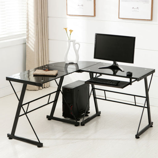 L-Shape Computer Desk & Laptop Table - Home Office - Black