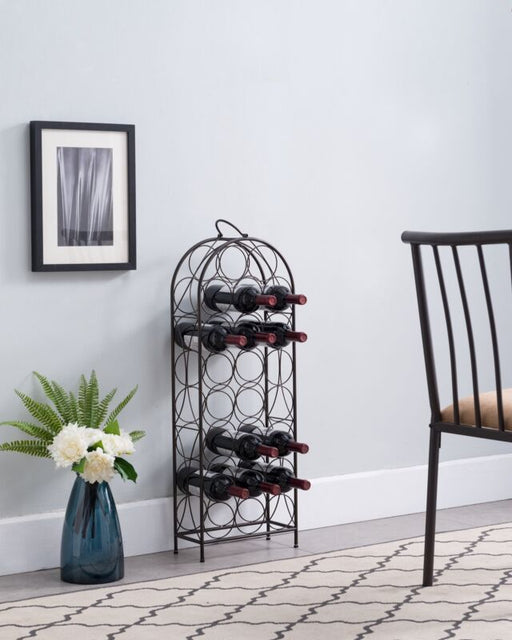 Pewter 23 Bottle Wine Rack Storage Organizer