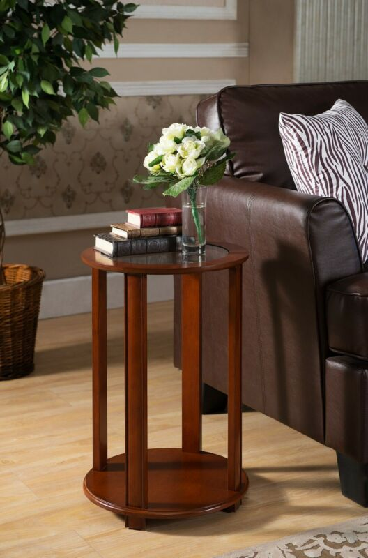 Walnut Finish Wood Accent Side End Table