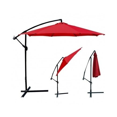 Offset Patio Umbrella Red Outdoor Furniture Cantilever Large Tilt Sun Shade Yard
