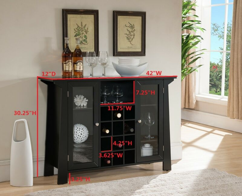 Wood Buffet Bar Cabinet with Wine Storage