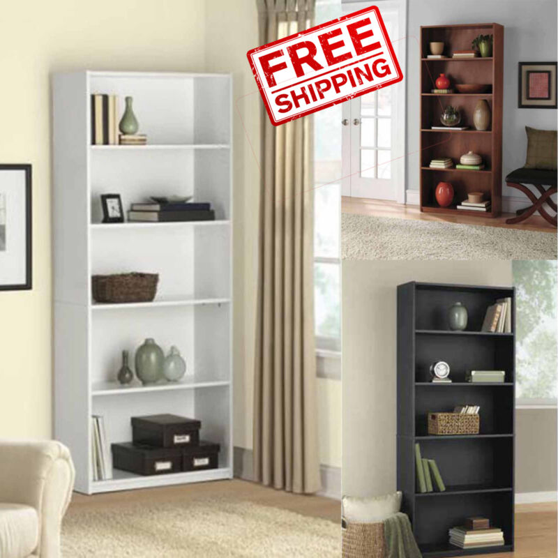 5 Shelf Adjustable Bookshelf Storage Wide Book Shelving Furniture