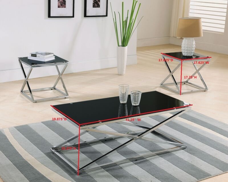 Chrome / Glass Cocktail Coffee Table & 2 End Tables Set of 3