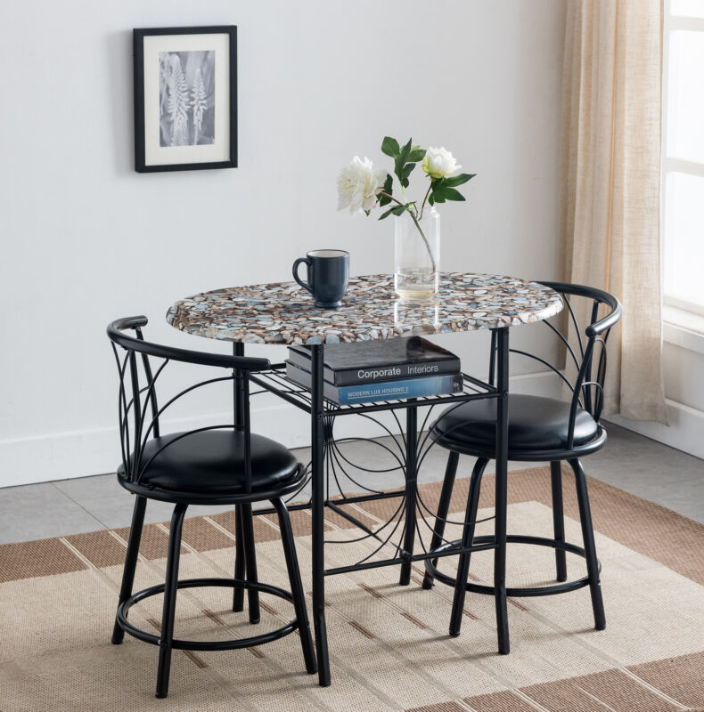 3-Piece Faux Marble Pub Dining Set With Storage (Black)