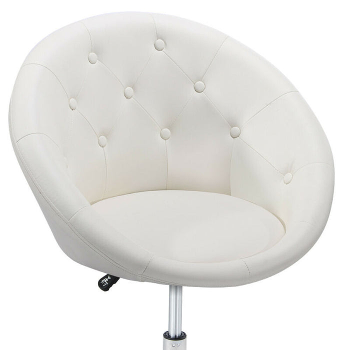 Astounding Adjustable Modern Round Tufted Back Accent Salon Vanity Chair Pub Counter Stools Cjindustries Chair Design For Home Cjindustriesco