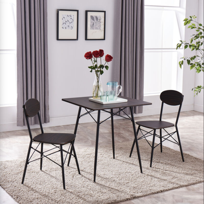 3 Piece Black/Walnut Dining Set, Table & 2 Chairs