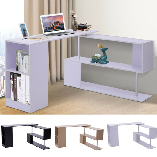 360° Rotating Corner Desk and Storage Shelf Combo L-Shaped