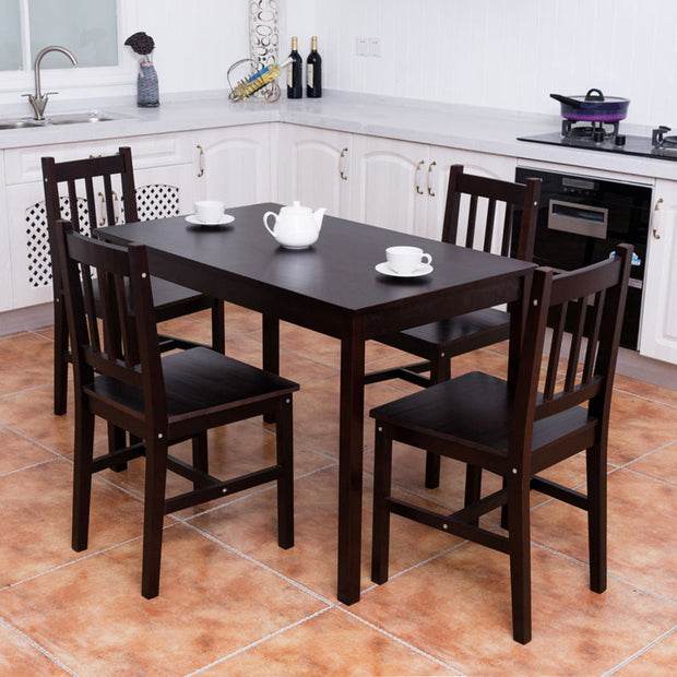 5 Piece Wood Dining Table Set 4 Chairs - Toyzor.com