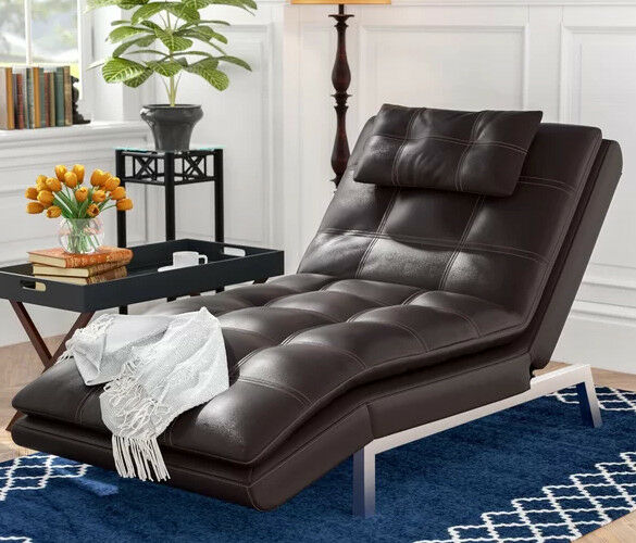 Chaise Lounge Chair Brown Recliner Leather Modern Lounger Convertible Sleeper
