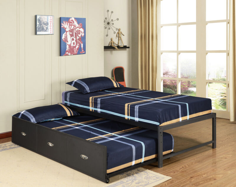 Black Metal Twin Size Day Bed Frame With Roll Out Trundle & Mattresses