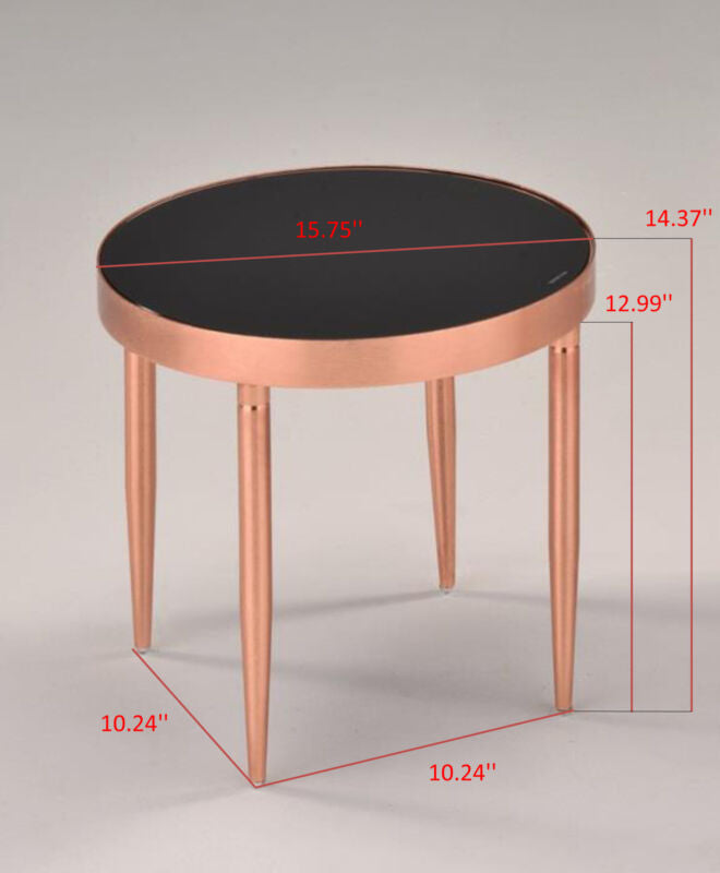Rose Gold Metal & Black Tempered Glass Round Modern Side End Table